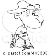 Royalty Free RF Clip Art Illustration Of A Cartoon Black And White Outline Design Of A Delinquent Boy Smoking by toonaday
