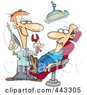 Royalty Free RF Clip Art Illustration Of A Cartoon Dentist Holding Pliers And A Drill Over A Patient by toonaday