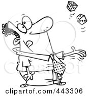 Royalty Free RF Clip Art Illustration Of A Cartoon Black And White Outline Design Of A Black Businessman Tossing Dice