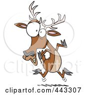 Royalty Free RF Clip Art Illustration Of A Cartoon Scared Deer