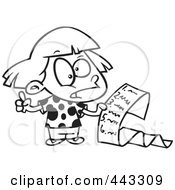 Royalty Free RF Clip Art Illustration Of A Cartoon Black And White Outline Design Of A Girl Reading A List Of Demands