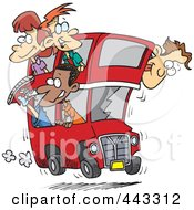 Royalty Free RF Clip Art Illustration Of A Cartoon Group Of People On A Double Decker Bus
