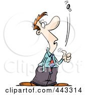 Royalty Free RF Clip Art Illustration Of A Cartoon Businessman Flipping A Coin
