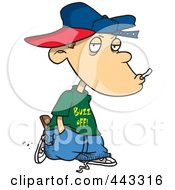 Royalty Free RF Clip Art Illustration Of A Cartoon Delinquent Boy Smoking by toonaday