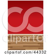 Royalty Free RF Clip Art Of Wood Floors And Red Painted Wall Background