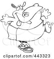 Royalty Free RF Clip Art Illustration Of A Cartoon Black And White Outline Design Of A Hippo Trying To Deceive A Scale