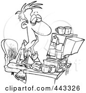 Royalty Free RF Clip Art Illustration Of A Cartoon Black And White Outline Design Of An Exhausted Man Working On A Computer