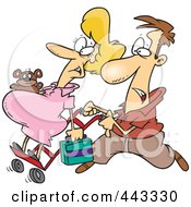 Royalty Free RF Clip Art Illustration Of A Cartoon Man Pushing His Pregnant Wife On A Dolly by toonaday