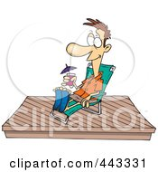 Royalty Free RF Clip Art Illustration Of A Cartoon Man Relaxing On A New Deck by Ron Leishman