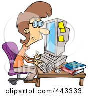 Royalty Free RF Clip Art Illustration Of A Cartoon Businesswoman Working On A Computer