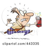 Royalty Free RF Clip Art Illustration Of A Cartoon Businessman Running With Dynamite by toonaday