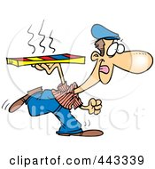 Royalty Free RF Clip Art Illustration Of A Cartoon Pizza Delivery Man Running