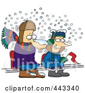 Royalty Free RF Clip Art Illustration Of Cartoon Diehard Fans Sitting In The Snow by toonaday