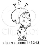 Royalty Free RF Clip Art Illustration Of A Cartoon Black And White Outline Design Of A Girl Deciding by toonaday