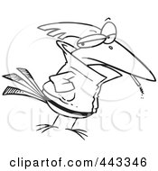 Royalty Free RF Clip Art Illustration Of A Cartoon Black And White Outline Design Of A Delinquent Bird Smoking by toonaday
