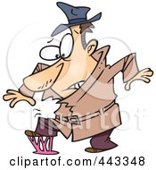 Royalty Free RF Clip Art Illustration Of A Cartoon Detective Stepping In Gum