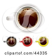 Royalty Free RF Clip Art Of Assorted Tops Of Coffee Cups by michaeltravers