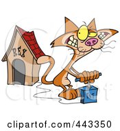 Royalty Free RF Clip Art Illustration Of A Cartoon Cat Blowing Up A Dog House by toonaday