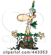 Royalty Free RF Clip Art Illustration Of A Cartoon Christmas Man In Lights With A Candle And Holly