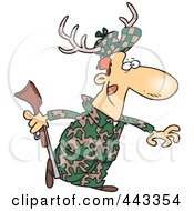 Royalty Free RF Clip Art Illustration Of A Cartoon Deer Hunter Wearing Antlers by toonaday