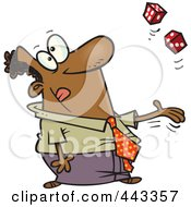 Royalty Free RF Clip Art Illustration Of A Cartoon Black Businessman Tossing Dice