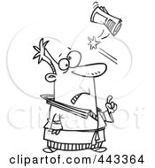 Royalty Free RF Clip Art Illustration Of A Cartoon Black And White Outline Design Of A Newspaper Hitting A Man In The Head