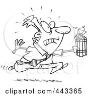 Royalty Free RF Clip Art Illustration Of A Cartoon Black And White Outline Design Of A Businessman Running With Dynamite by toonaday