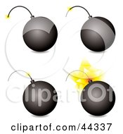 Royalty Free RF Clip Art Of Four Bombs In Different Stages Of Exploding by michaeltravers