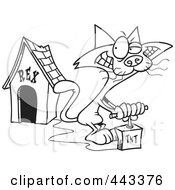 Royalty Free RF Clip Art Illustration Of A Cartoon Black And White Outline Design Of A Cat Blowing Up A Dog House by toonaday