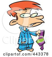 Royalty Free RF Clip Art Illustration Of A Cartoon Disappointed Boy Holding A Tie
