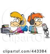 Royalty Free RF Clip Art Illustration Of Cartoon Two Kid DJs by toonaday