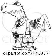 Royalty Free RF Clip Art Illustration Of A Cartoon Black And White Outline Design Of An Old Business Dinosaur