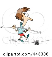 Royalty Free RF Clip Art Illustration Of A Cartoon Woman Coming Across A Dilemma On A Tight Rope