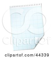 Royalty Free RF Clip Art Of A Blank Paper Grid With Corner Peeling Up