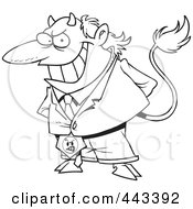 Royalty Free RF Clip Art Illustration Of A Cartoon Black And White Outline Design Of A Director Devil by Ron Leishman