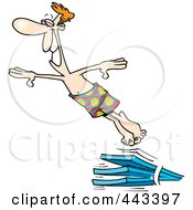 Royalty Free RF Clip Art Illustration Of A Cartoon Man Diving