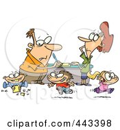 Royalty Free RF Clip Art Illustration Of A Cartoon Couple Distracted By Their Children by Ron Leishman