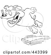 Royalty Free RF Clip Art Illustration Of A Cartoon Black And White Outline Design Of A Bulldog Jumping Off Of A Diving Board