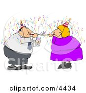 Happy New Year Business Couple Partying With Wine Streamers And Blowers Clipart