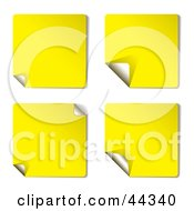 Royalty Free RF Clip Art Of Yellow Sticky Note Variations With Page Curl by michaeltravers