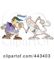 Royalty Free RF Clip Art Illustration Of A Cartoon Man Wrestling With A Cougar