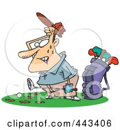 Royalty Free RF Clip Art Illustration Of A Cartoon Sweaty Golfer With Holes In The Grass