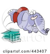 Royalty Free RF Clip Art Illustration Of A Cartoon Elephant Jumping Off A Diving Board