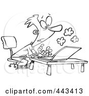 Royalty Free RF Clip Art Illustration Of A Cartoon Black And White Outline Design Of A Young Man Using A Smoking Laptop