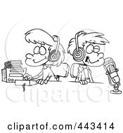 Royalty Free RF Clip Art Illustration Of A Cartoon Black And White Outline Design Of Two Kid DJs by toonaday