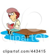 Royalty Free RF Clip Art Illustration Of A Cartoon Woman Reading A Book On A Dock by toonaday