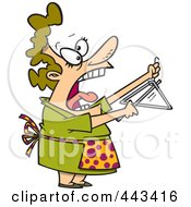 Cartoon Woman Shouting And Ringing A Dinner Bell