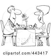 Royalty Free RF Clip Art Illustration Of A Cartoon Black And White Outline Design Of A Couple Dining At A Restaurant by toonaday