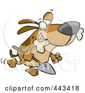 Royalty Free RF Clip Art Illustration Of A Cartoon Dog Carrying A Shovel by toonaday