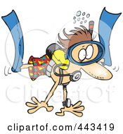 Royalty Free RF Clip Art Illustration Of A Cartoon Scared Diver by toonaday